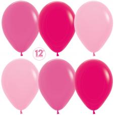 Шар (12''/30 см) Ярко-розовое ассорти (009/012/014), пастель.
