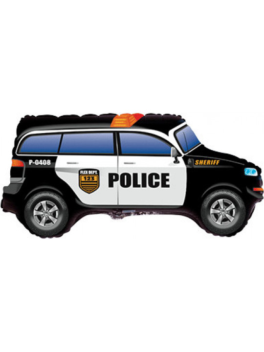 Шар (33''/84 см) Фигура, Полицейская машина, Черный, 1 шт.