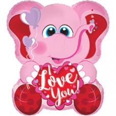 Шар (22''/56 см) Фигура, Слоник с сердцем, Розовый, 1 шт.