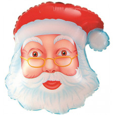 Шар (19''/48 см) Фигура, Голова Деда Мороза, 1 шт.