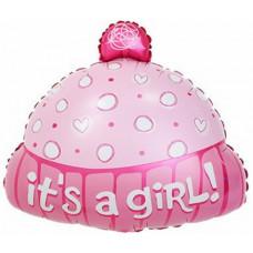 Шар (19''/48 см) Фигура, Шапочка для девочки, Розовый, 1 шт.
