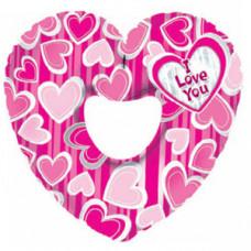 Шар (31''/79 см) Фигура, Сердце я люблю тебя (в полоску), Розовый, 1 шт.