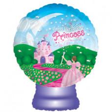 Шар (22''/56 см) Фигура, Стеклянный шар с принцессой, 1 шт.