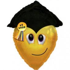 Шар (22''/56 см) Фигура, Смайл-выпускник, Желтый, 1 шт.