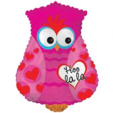 Шар (22''/56 см) Фигура, Влюбленная сова, Розовый, 1 шт.