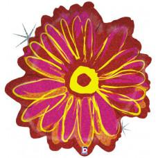 Шар (23''/58 см) Фигура, Цветок, Розовый, Голография, 1 шт.