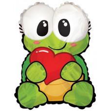 Шар (22''/56 см) Фигура, Черепаха с сердцем, 1 шт.
