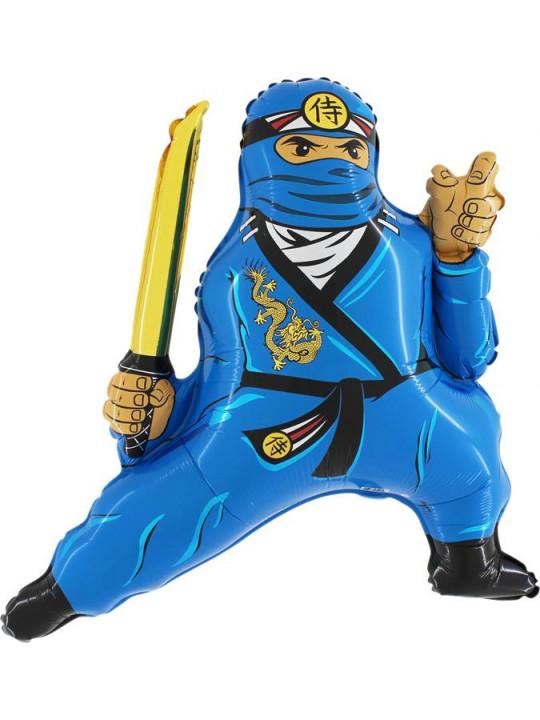Шар (32''/81 см) Фигура, Ниндзя, Синий, 1 шт.