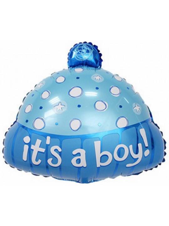 Шар (19''/48 см) Фигура, Шапочка для мальчика, Голубой, 1 шт.