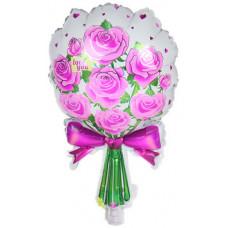 Шар (23''/58 см) Фигура, Букет роз, Фуше, 1 шт.