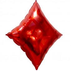 Шар (24''/61 см) Фигура, Карточная масть: бубны, Красный, 1 шт.