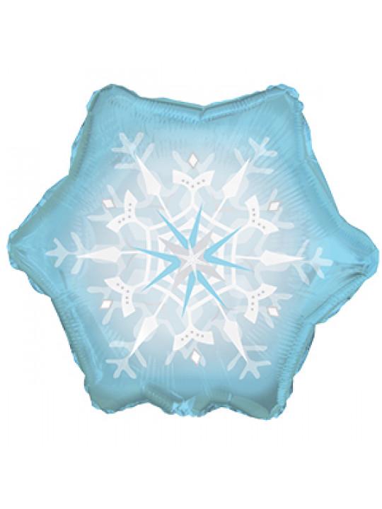 Шар (20''/51 см) Фигура, Снежинка, Голубой, 1 шт.
