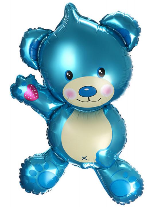 Шар (37''/94 см) Фигура, Плюшевый мишка, Голубой, 1 шт.