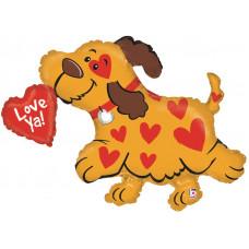 Шар (39''/99 см) Фигура, Собачка с сердечком, 1 шт.