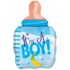 Шар (24''/61 см) Фигура, Бутылочка для мальчика (луна), Голубой, 1 шт.