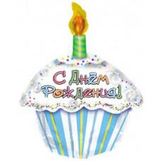 Шар (22''/56 см) Фигура, С Днем рождения (тортик), на русском языке, 1 шт.