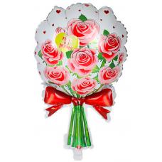Шар (23''/58 см) Фигура, Букет роз, С Днем матери!, Красный, 1 шт.