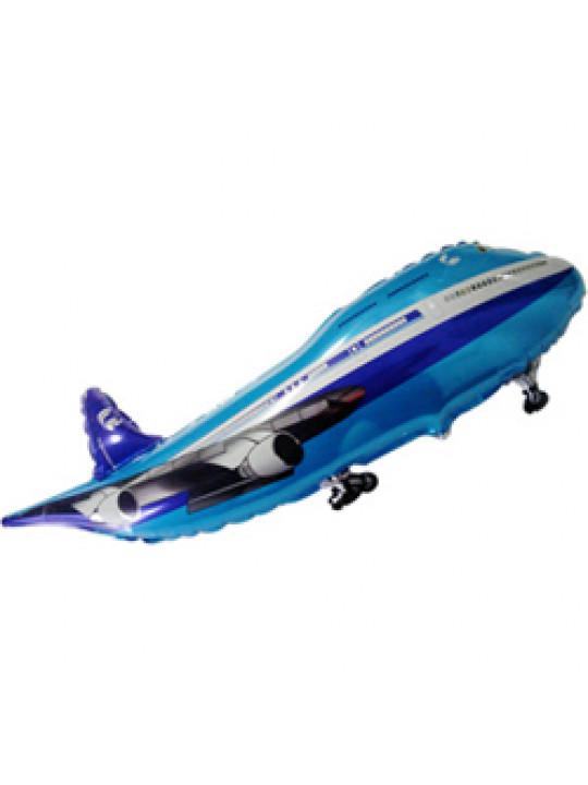 Шар (32''/81 см) Фигура, Самолет, Синий, 1 шт.