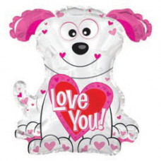 Шар (22''/56 см) Фигура, Собака с сердцем, Белый, 1 шт.
