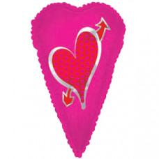 Шар (22''/56 см) Фигура, Вытянутое сердце, Фуше, 1 шт.