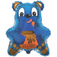 Шар (22''/56 см) Фигура, Медведь с мёдом, Синий, 1 шт.