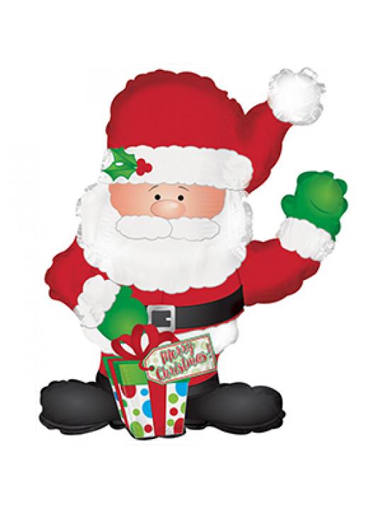 Шар (32''/81 см) Фигура, Санта с подарком, 1 шт.