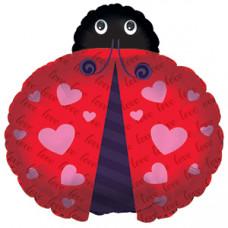 Шар (24''/61 см) Фигура, Божья коровка (любовь), Красный, 1 шт.