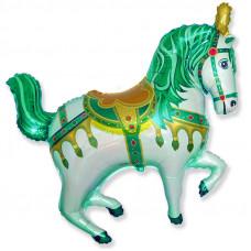 Шар (39''/99 см) Фигура, Лошадь ярмарочная, Зеленый, 1 шт.