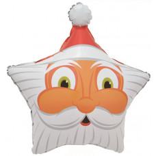 Шар (19''/48 см) Звезда, Голова Деда Мороза, 1 шт.