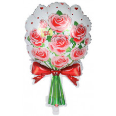 Шар (23''/58 см) Фигура, Букет роз, Красный, 1 шт.