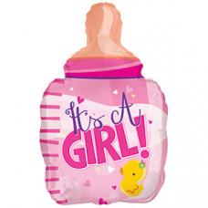 Шар (24''/61 см) Фигура, Бутылочка для девочки (цыпленок), Розовый, 1 шт.