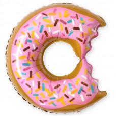 Шар (26''/66 см) Фигура, Пончик (надкусанный), Розовый, 1 шт.