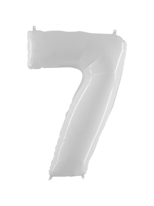 Шар (40''/102 см) Цифра, 7, Белый, 1 шт.