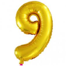Шар с клапаном (16''/41 см) Мини-цифра, 9, Золото, 1 шт.