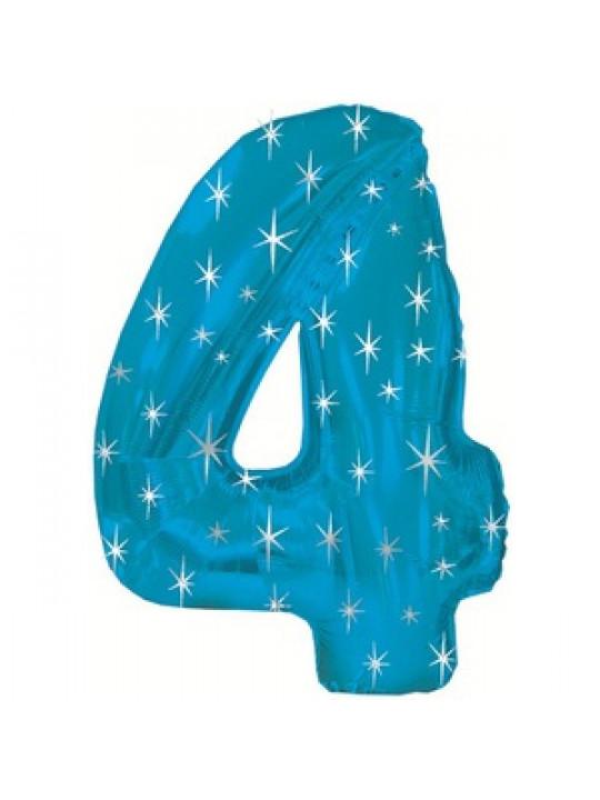 Шар (42''/107 см) Цифра, 4 в упаковке, Синий, 1 шт.