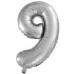 Шар с клапаном (16''/41 см) Мини-цифра, 9, Серебро, 1 шт.