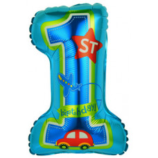 Шар с клапаном (16''/41 см) Мини-цифра, Первый ДР Мальчика, Голубой, 1 шт.