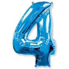 Шар (40''/102 см) Цифра, 4, Синий, 1 шт.