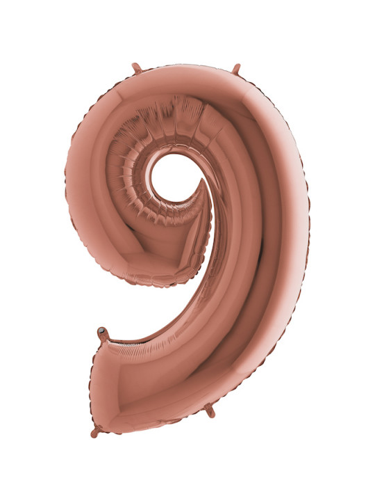 Шар (40''/102 см) Цифра, 9, Розовое Золото, 1 шт.