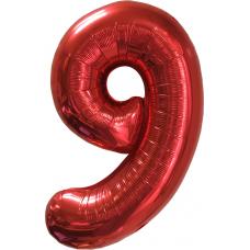 Шар (40''/102 см) Цифра, 9, Красный, в упаковке 1 шт.