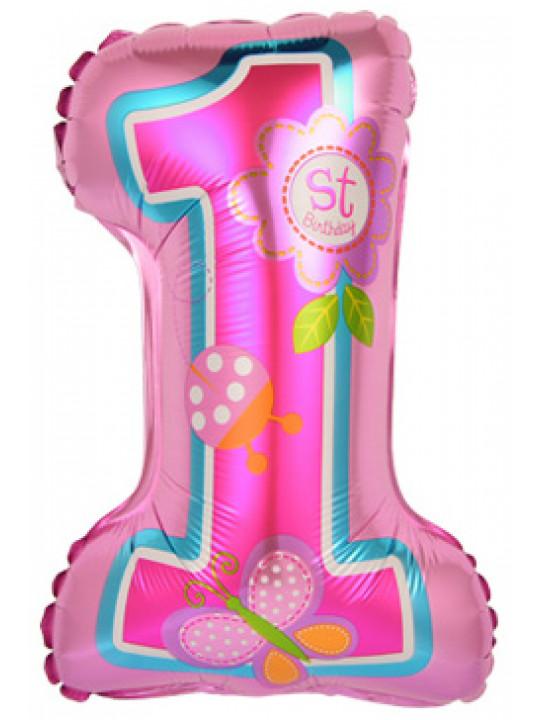 Шар с клапаном (16''/41 см) Мини-цифра, Первый ДР Девочки, Розовый, 1 шт.