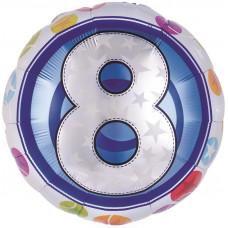 Шар (18''/46 см) Круг, Цифра 8 Красочная, 1 шт.